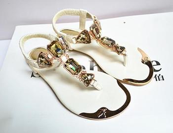 Summer women's sandals rhinestones rear wristbands with toe herringbone low to help flat shoes metalhead Flat shoes 938-1