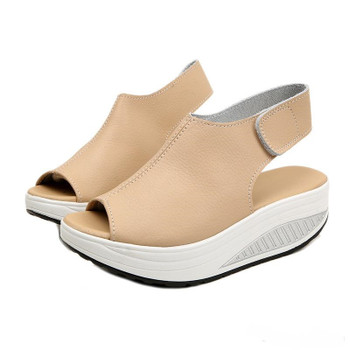 Summer Sandals Women Shake Shoes Thick Wedges Slope Platform Head Leather Sandals Women Thick Bottom Higt Heel Shoes