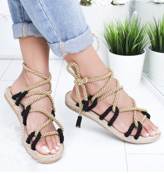 Women Sandals 2021 Fashion Summer Shoes Woman Flat Sandals Hemp Rope Lace Up Gladiator Sandals Non-slip Beach Chaussures