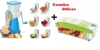 4 IN 1 Vegetable Fruit Cutter Slicer + 5in1 Slicer & Dicer Grater Plus Multi Chopper Vegetable Cutter Peeler