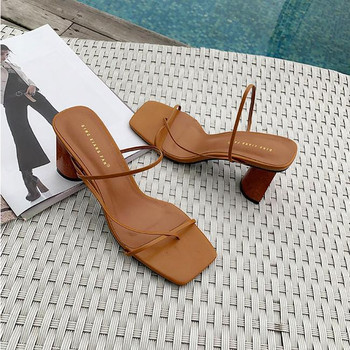 2021 Summer Woman 8cm High Heels Sandals Classic Block Heels Platform Pumps Lady Chunky Fertsh Brown Wedding Prom Sandles Shoes