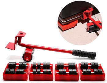 Furniture Lifter and Mover Tool Set - Heavy Furniture Appliance Roller Shifter Moving Kit with 4 Wheel Slider, 360 Degree Rotatable Pads