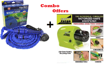 Magic hose water spray pipe with nozzle Jet Spray Pipe 15m 50ft + Power Knives Sharpener Swifty Sharpener