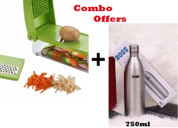 Boss Stainless Steel 750 ML Double Walled Stainless Steel + Famous unbreakable 5in1 Slicer & Dicer Grater Plus Multi Chopper