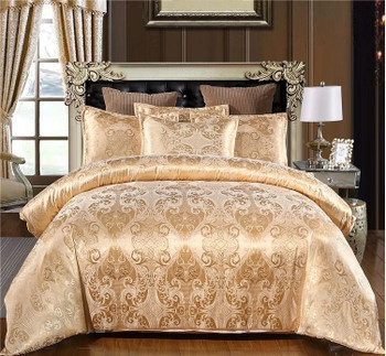Luxury Satin Jacquard bedding sets Embroidery bed set double queen king size duvet cover set pillowcase T2I51970