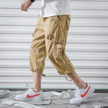 Men Cargo Pants Men's Casual Calf-Length Pants Man Loose Cropped Trousers Multi-pocket Beamed Overalls Male Sports Short 40