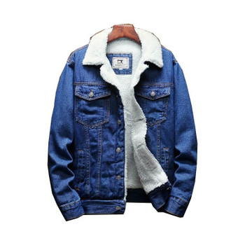 Men's Down & Parkas Winter Denim Jacket Large Wool Lining, Thicker, XS-6XL