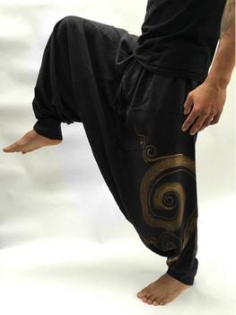 Vintage Men Pants Harem Elastic Casual Baggy Yoga Harem Pants Hip hop Men Gypsy Cotton Linen Wide-legged Loose Pants Drawstring