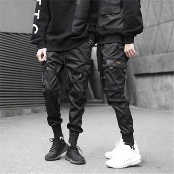 Block Black Pocket Cargo Pants Harem Joggers Harajuku Sweatpant Hip Hop Trousers Mens Designer Clothing Men Ribbons Color