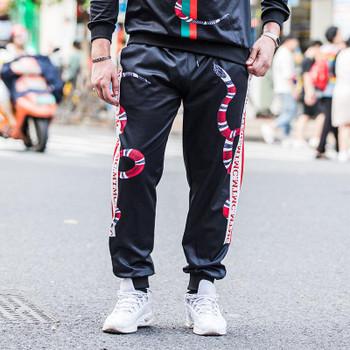 19FW Fashion Mens Pants Sport Striped Drawstring Sport Pants Casual Joggers Trouse Sweatpants Size M-8XL