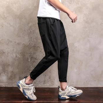 Spring Summer Comfort Cotton Mens Sweatpants Loose Baggy Pants Soild Full Length Elastic Waist Harem Pants Drop Crotch Trousers
