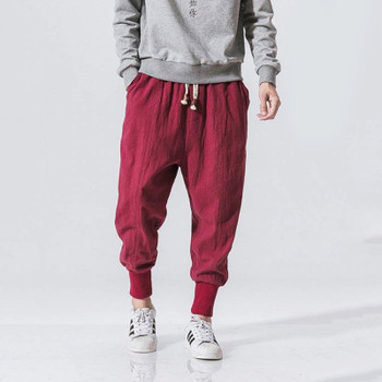 Men Harem Pants Drawstring Cotton Joggers Solid 2020 Streetwear Drop-Crotch Trousers Men Baggy Casual Sweatpants S-5XL1