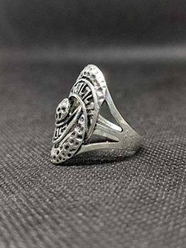 Vintage Jewelry Stainless Steel Eagle Carved Flower Silver Plated Jewelry Rings For Women ( Size : 9/9.5 )