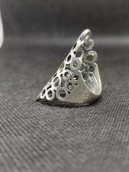 2021 New Fashion Jewelry Vintage Stainless Steel Eagle Carved Flower Silver Plated Jewelry Rings For Women ( Size : 9.5/9 )