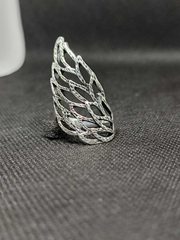 New 2021 Fashion Jewelry Vintage Stainless Steel Eagle Carved Flower Silver Plated Jewelry Rings For Women ( Size : 9/9.5 )