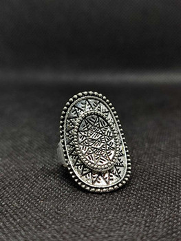 New Fashion Jewelry Vintage Carved Flower Silver Plated Jewelry Rings For Women ( Size : 9/9.5 )