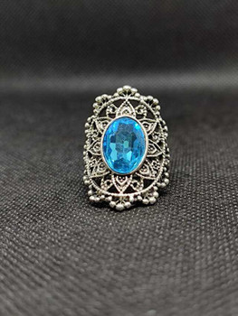 New 2021 Silver color Women Sky Blue Stone Signet Ring ( Size: 7.5 )