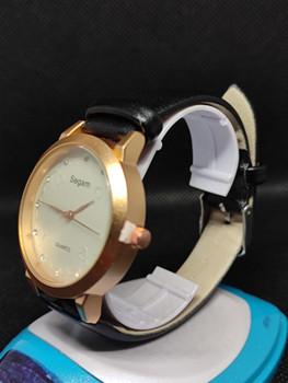 Segam Black Gold Women's Watches Fashion Leather Watch