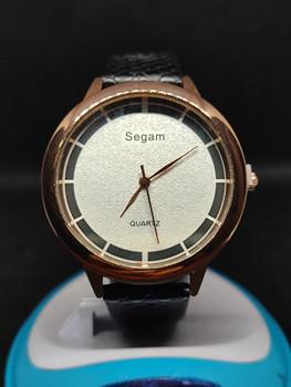 Segam Black Gold White Women's Watches Fashion Leather Watch
