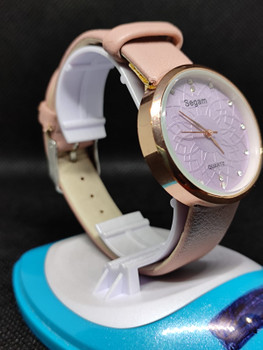Segam Light Pink Belt Gold Light Purple Dial Women's Watches Fashion Leather Watch