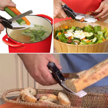2 In 1 Multi-Function Kitchen Meat Scissors Knife&Board Stainless Steel Kitchen Knives Meat Potato Cheese Vegetable Cutter