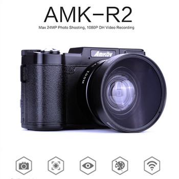 "AMKOV AMK-R2 3.0"" 24MP HD 1080P Portable Digital Cameras Rotatable Video Camcorder  DSLR Cameras Black+Lens"