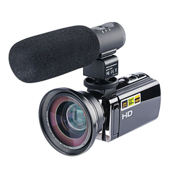 DSLR Microphone Video Digital Camera HDMI HD 1080P 3.0 inches LCD Portable Camcorder Wide Angle Camera with Microphone