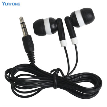 Wholesale Cheapest disposable earphones for bus or train or plane For school gift one time use black colorful color 100pcs/lot