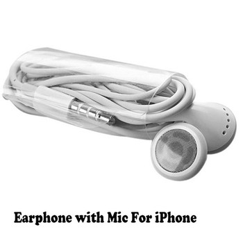 Wholesale 3.5mm good quality white Earphone with Mic For Apple iPhone 6 Plus  5s 5 4s 4 factory price 500pcs/lot