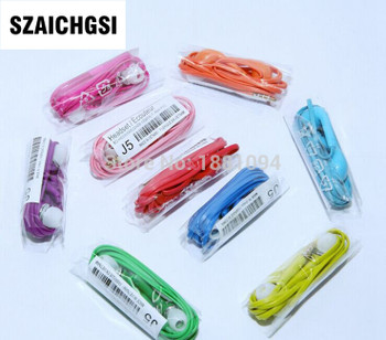 SZAICHGSI wholesale 100pcs colorful J5 earphone With Volume Control & Mic For Samsung Galaxy S4 I9500/S3 I9300/ I9220 N7100