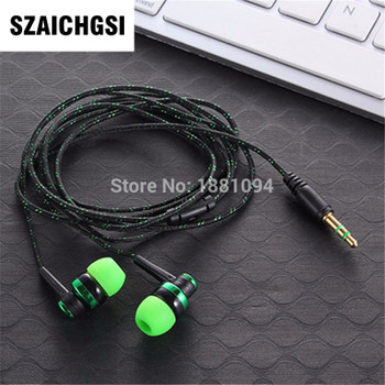 SZAICHGSI 3.5mm In-Ear Stereo braided Earbuds Earphone For iPhone For Samsung by fast shipping wholesale 100pcs