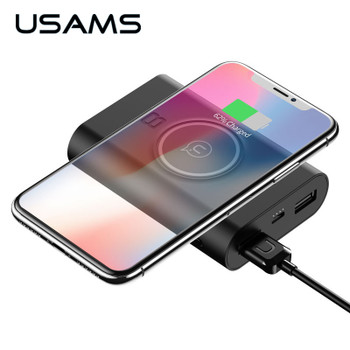 USAMS 5V 2A 2 USB Ports 8000mah QI Wireless Charger 5W Pad Power Bank Built-in Wireless Charging Universal Power Bank
