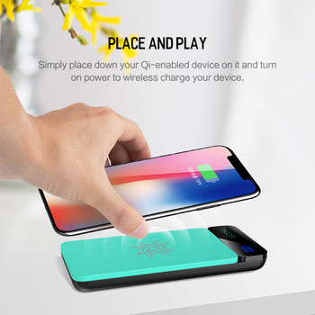 QI Wireless Charger Power Bank 8000mah,Digital Display 5V 2A 5W External Battery Powerbank for iPhone X 8 For Samsung XiaoMi