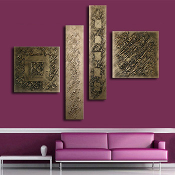 Hand-painted Abstract Graffiti Oil Painting On Canvas 4 Panel Wall Art Pictures Home Decor Bronze Paintings Sets for Living Room