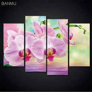 4 Pieces/set Canvas Print Flower Lotus Rose In Black Wall Art Picture with Modern Wall Paintings Modular picture (Unframed)