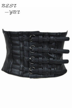 New fashion 2018 women faux leather belt pin up retro elastic wide waist belt for women black faux leather belt corset top