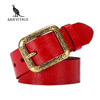 2017 new Designer Brand Women Cow Genuine leather hollow fashion belts for women female pin buckle cinto feminino belt For jeans