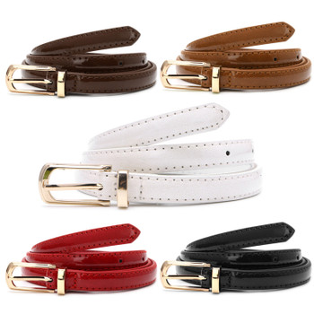 Candy Color Metal Buckle Thin Casual Belt For Women , Leather Belt Female Straps Waistband For Apparel Accessories