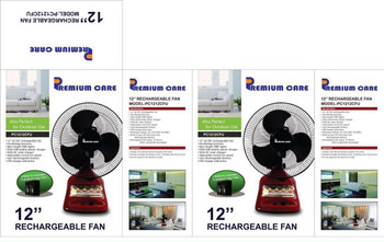 "12"" Rechargeable Emergency Oscillating Table Fan with LED Light + mobile charger + Solar Panel Socket"