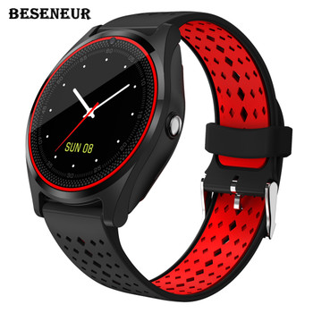 Beseneur Smart Watch V9 Bluetooth Clock Support SIM Card Pedometer Camera Smartwatch Anti-lost Watch Phone for iOS Android Phone