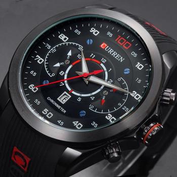 CURREN Luxury Brand Military sports Watches Rubber Fashion Quartz Men Casual Watch Calendar Date Work 30M Waterproof Wristwatch