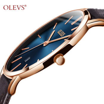 Ultra thin Quartz Watch Men OLEVS Luxur Rose Gold Mens Watches Waterproof Leather Dropshipping Wristwatch 2018 montre homme