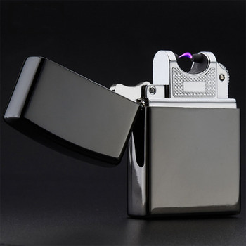 USB Lighter Electronic Cigarette Lighter Pulsed Arc Lighter Windproof Metal Cigarette Plasma Flameless Cigar Lighter 10 colors