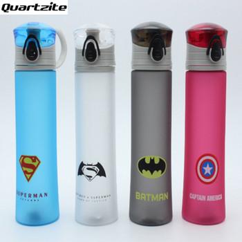 New cartoon Plastic Portable Water Bottle Spiderman Superman Batman Captain America For Outdoor Sports Camping BPA Free