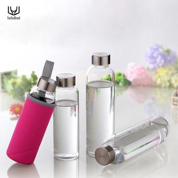 luluhut Travel drinkware Portable bottle The new design of glass bottle Transparent bottle for water tea glass drinking bottle
