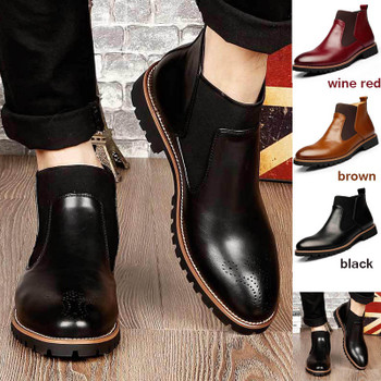 2016 Black/Red/Brown British Style Men's Ankle Boots,High Quality Genuine Leather Chelsea Boots,Bullock Rubber Sole Chelsea Shoe