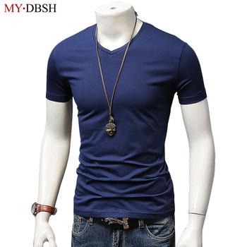 New 2018 Summer High Quality Short Sleeve Men's T-shirt Casual V Collar Fashion Cotton t shirt Male Tops Tee