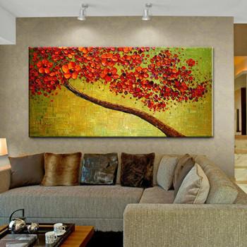 New handmade Modern Canvas on Oil Painting Palette knife Tree 3D Flowers Paintings Home living room Decor Wall Art 168032