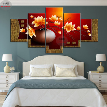 5 Piece Modern Flower Vase Canvas Art Oil Painting Modular Picture HD Print Wall Pictures For Living Room Decoration Paintings