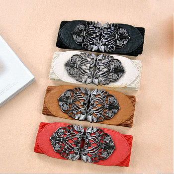 Women's Retro Vintage Hollow Flower Embossment Buckle Wide Waistband Belt Girth